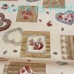 Szívmintás-mókusos dekorvászon