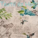 Kék szitakötős-madárkás dekorvászon (280 cm)