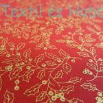 Arany magyalmintás piros karácsonyi pamut-puplin vászon - EXTRA minőség