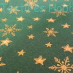 Arany csillagos zöld karácsonyi pamutvászon