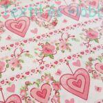 Rózsaszín szívecskés pamutvászon