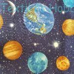 Bolygós dekorvászon (sötétkék alapon)