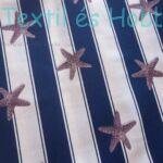 Tengeri csillagos dekorvászon kék-fehér csíkos