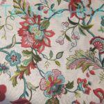 Bordó-türkiz nagyvirágos dekorvászon