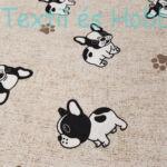 Bulldog kutyás dekorvászon drapp alapon