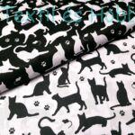 Fekete cicás pamutvászon fehér alapon