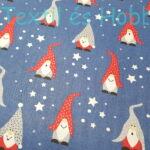 Karácsonyi manós pamutvászon kék alapon