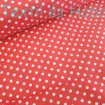 Piros alapon fehér pöttyös pamutvászon (5mm)