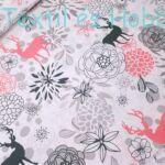Rózsaszín-fekete rénszarvasos pamutvászon