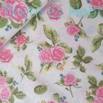 Rózsaszín rózsás pamutvászon