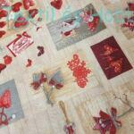 Szívecskés karácsonyi dekorvászon - bézs alapon
