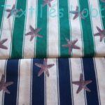 csillagos dekorvászon zöld-fehér csíkos