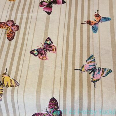 Pillangós dekorvászon (csíkos alapon)