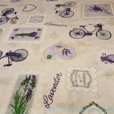 levendulás-biciklis dekorvászon