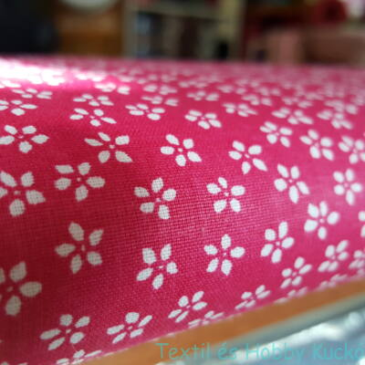 Apró virágos pamutvászon pink alapon