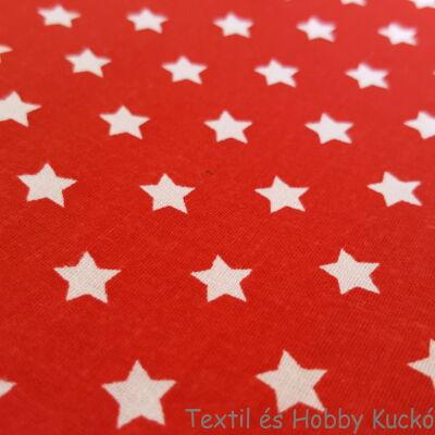 Fehér csillagos pamutvászon piros alapon