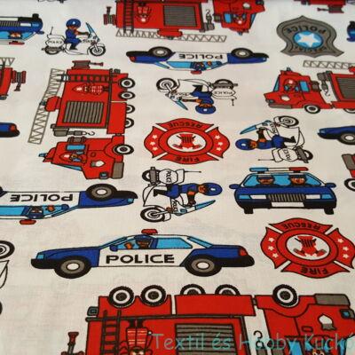 tűzoltóautós és rendőrautós pamutvászon