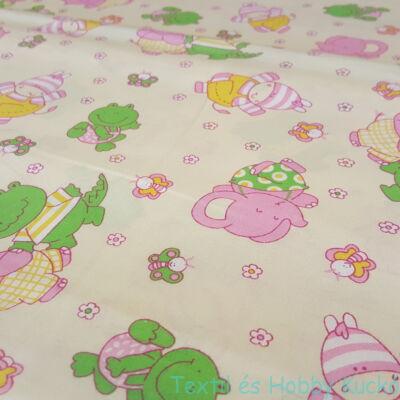 Rózsaszín, zöld állatkás pamutvászon ecrü alapon
