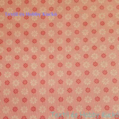 Rózsaszín - fehér virágos pamutvászon rózsaszín alapon