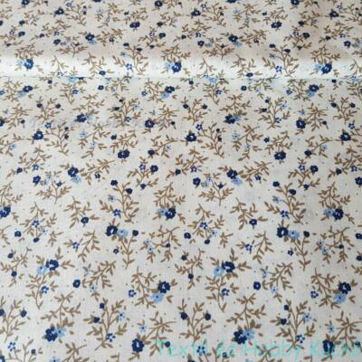 Kék apró virágmintás pamutvászon