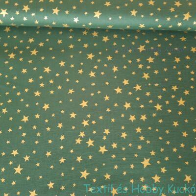 Arany csillagos pamutvászon zöld alapon