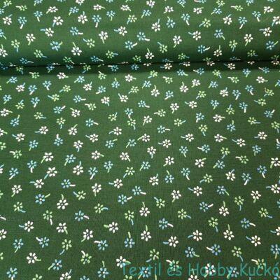 kis virágos pamutvászon zöld alapon