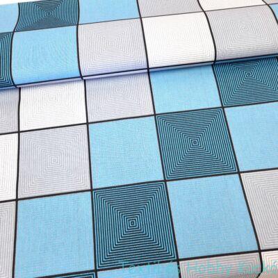 3D négyzetes pamutvászon - türkiz