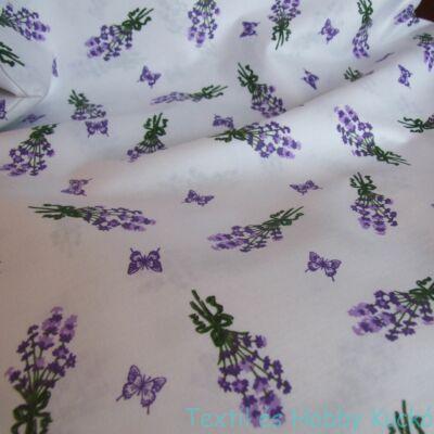 Levendulás pamutvászon lila pillangóval
