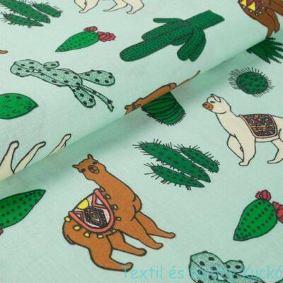 Alpakás pamutvászon - pasztell zöld