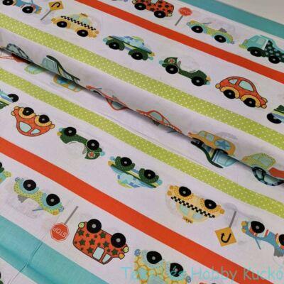 Színes autók sorban pamutvászon (160 cm)