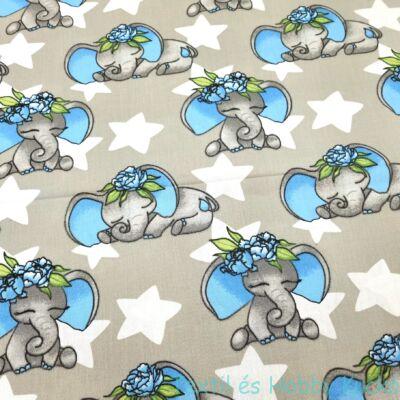Elefántos pamutvászon - kék