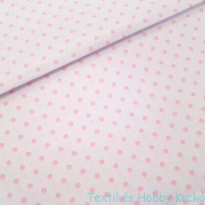 Fehér alapon rózsaszín pöttyös pamutvászon ( 5 mm)