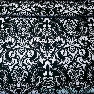Fekete-fehér barokk mintás dekorvászon