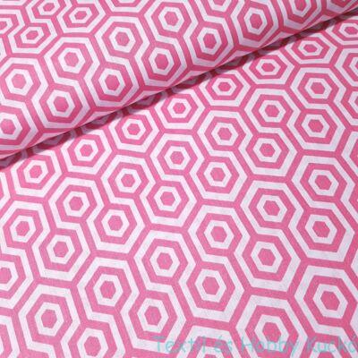 Rózsaszín geometrikus mintás pamutvászon