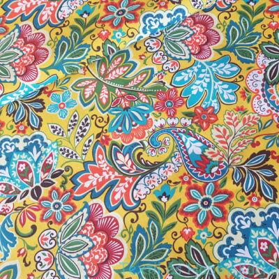 Hippi, sárga alapon színes leveles pamutvászon