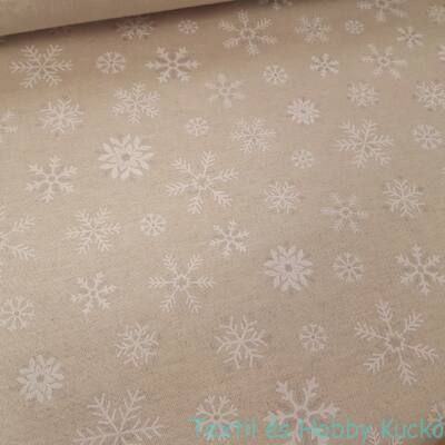 Hópelyhes karácsonyi dekorvászon - ezüst csillogással