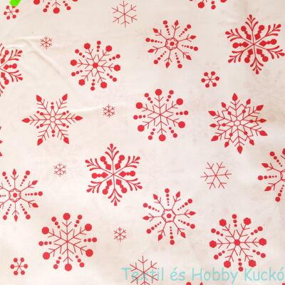 hópelyhes karácsonyi pamutvászon fehér alapon