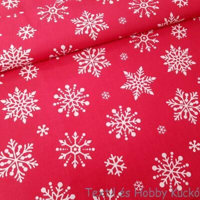 hópelyhes karácsonyi pamutvászon piros alapon