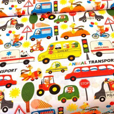 Járművekkel közlekedő állatos pamutvászon