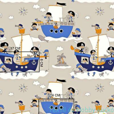 Kalóz hajós pamutvászon