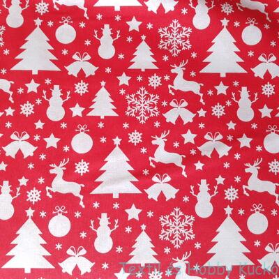 Karácsonyifa, hóember, rénszarvasok - karácsonyi pamutvászon piros alapon