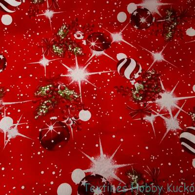 Karácsonyfadíszek csillogva karácsonyi dekorvászon - piros alapon