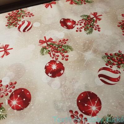 Karácsonyfa gömbös dekorvászon
