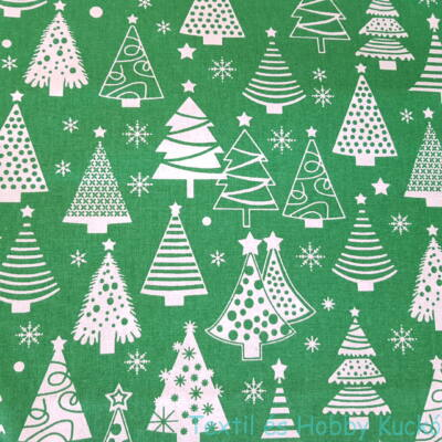 Karácsonyfás pamutvászon
