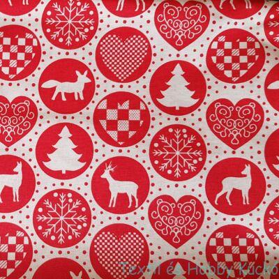 Karácsonyi díszek piros körben - pamutvászon szürke alapon