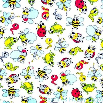 Katicás, hernyos, méhecskés pamutvászon