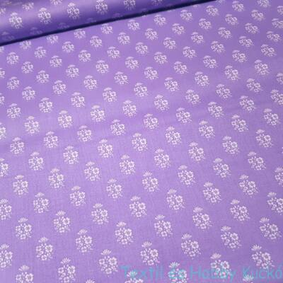 Kékfestő mintás pamutvászon lila alapon