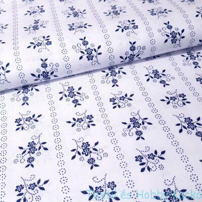 kékfestő mintás pamutvászon - fehér alapon kék virágok csíkosan