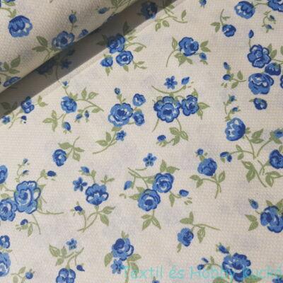 Kék virágos pamutvászon