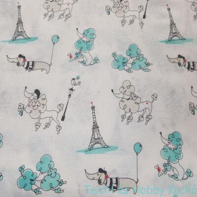 Kutyák az Eiffel toronynál - pamutvászon
